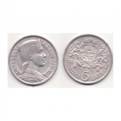 5 Lati Argent 1932 - Lettonie