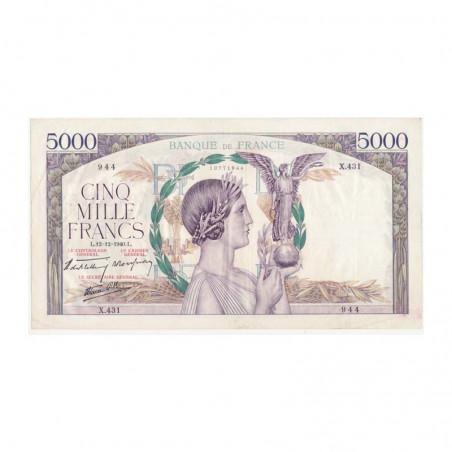 5000 Francs Victoire 12/12/1940 SUP ( 110 )