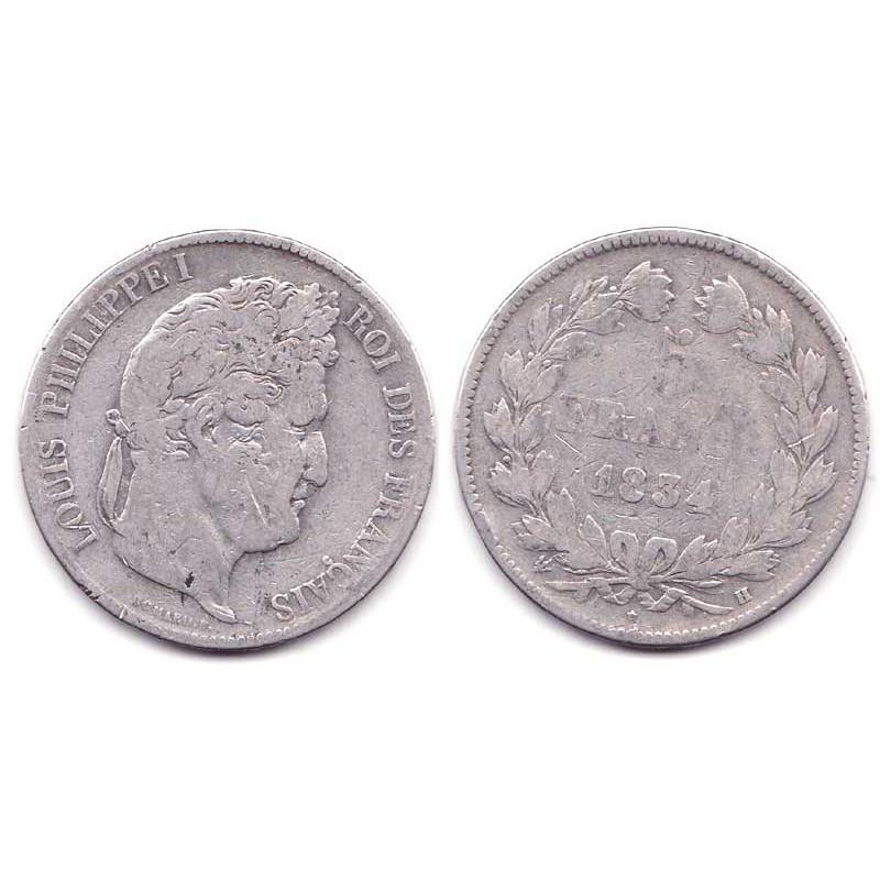 5 francs Louis Philippe 1834 H Argent ( 002 )