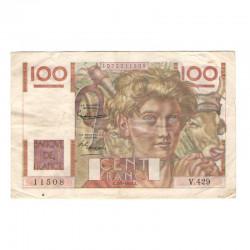 100 Francs Jeune Paysan 07/02/1952 TTB ( 623 )