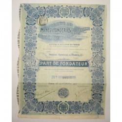 Part de fondateur : SA mines et fonderies de l'ariège et de la haute garonne ( 236 )