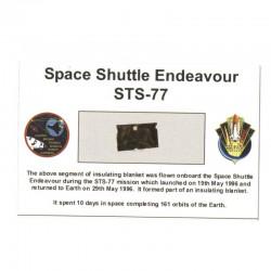 Carte / presentoir avec un fragment Original Nasa STS- 77 (  022 )