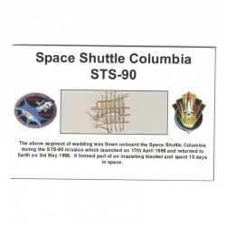 Carte / presentoir avec un fragment Original Nasa STS- 90 ( 029 )