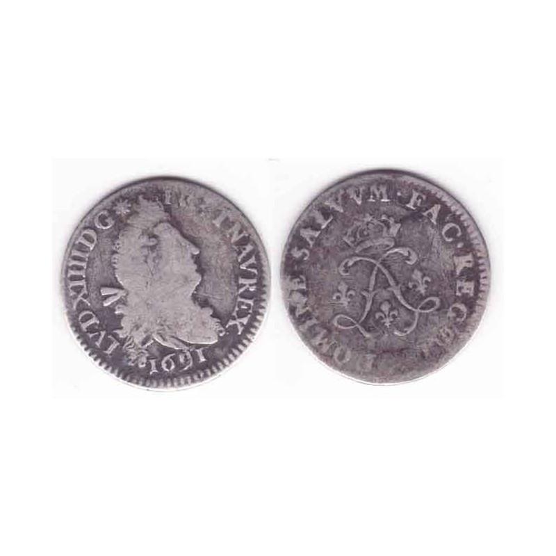 4 Sols aux 2 L Louis XIV 1691 K Argent