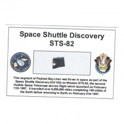 Carte / presentoir avec un fragment Original Nasa STS- 82 ( 042 )