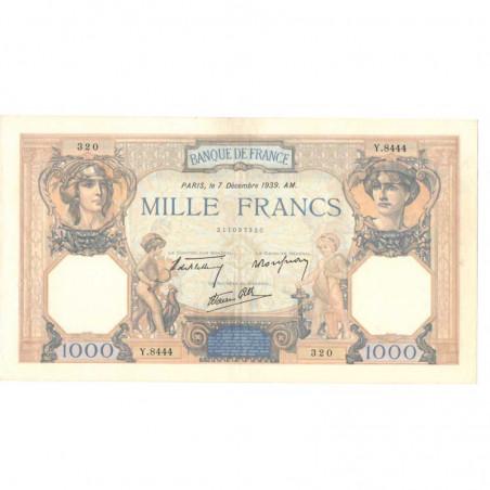 1000 Francs Ceres et Mercure 07/12/1939 SUP + ( 214  )