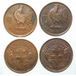 lot de 2 pieces de 50 cents 1943 Bronze Madagascar ( 003 )