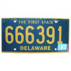Plaque d Immatriculation USA - Delaware 1987 ( 241 )