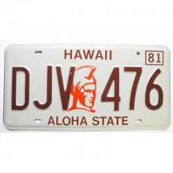 Plaque d Immatriculation USA - Hawaii 1981 ( 405 )