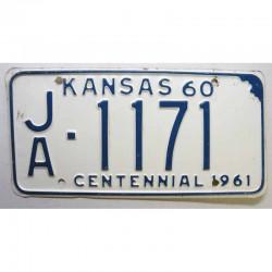Plaque d Immatriculation USA - Kansas 1961 ( 1102 )