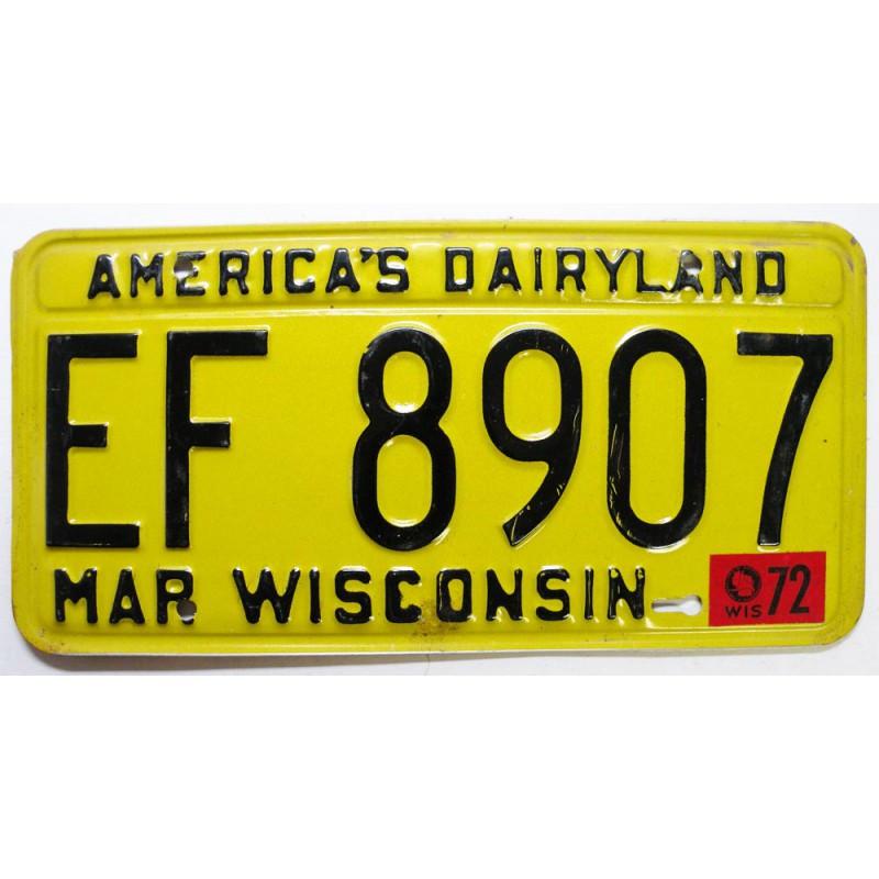 Plaque d Immatriculation USA - Wisconsin 1972 ( 224 )