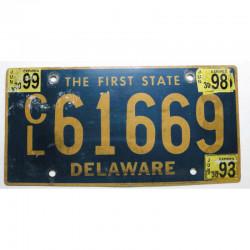 Plaque d Immatriculation USA - Delaware avec vignette ( 413 )