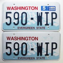 Paire de Plaque d Immatriculation USA - Washington 2008 ( 078 )