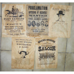 Lot 5 affiches USA Western , Cowboys ( 017 )