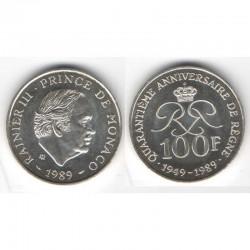 100 Francs Argent SAS Rainier III Monaco 1989