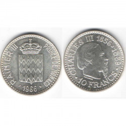 10 Francs Argent SAS Rainier III Monaco 1966