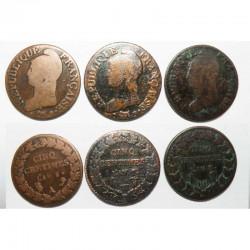 lot de 3 monnaies de 5 Centimes Bronze Dupré ( 041 )
