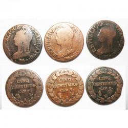 lot de 3 monnaies de 5 Centimes Bronze Dupré ( 040 )