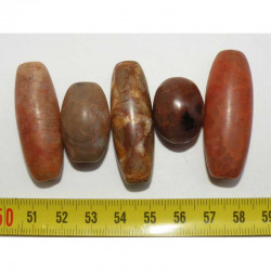 5 perles anciennes du tibet - Dzi ( 002 )