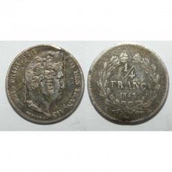 1/4 de Franc Louis Philippe 1843 A Argent ( 001 )