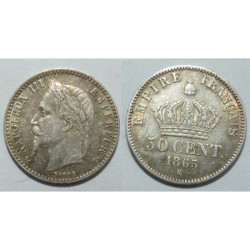 50 cents Napoleon III 1865 K argent ( 001 )