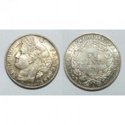 1 piece de 50 centimes Ceres Argent 1895 A ( 003 )