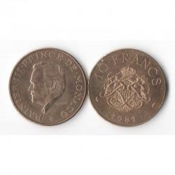 10 Francs 1981 Monaco Rainier III
