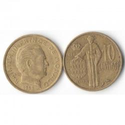 10 cents 1962 Monaco Rainier III