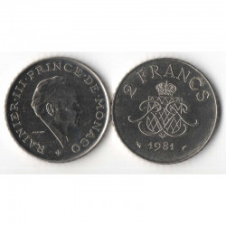 2 Francs 1981 Monaco Rainier III
