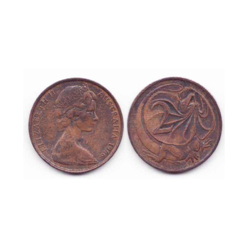 2 cents Australie Bronze 1966 ( 001 )