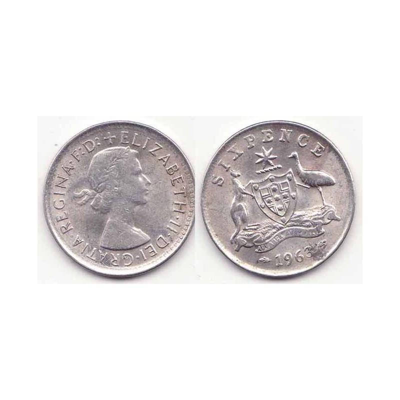 6 pence Australie Argent 1963 ( 001 )