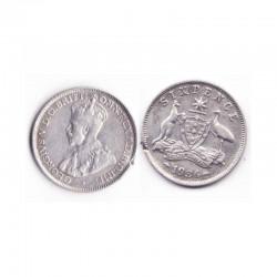 6 pence Australie Argent 1936 ( 001 )