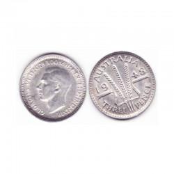 3 pence Australie Argent 1948 ( 001 )