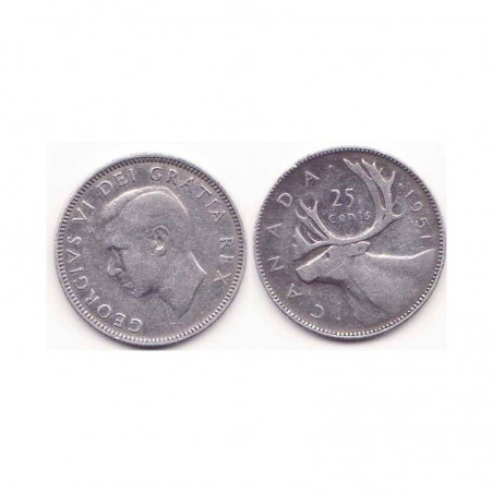 25 cents Argent Canada 1951