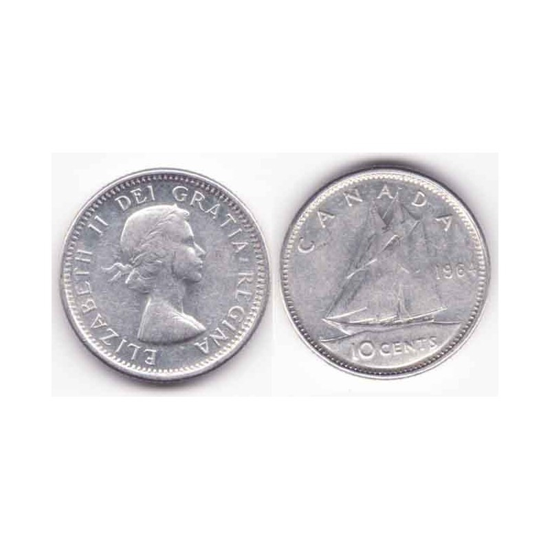 10 cents Canada Argent 1964 ( 001 )