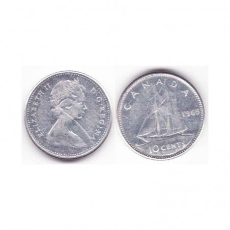 10 cents Canada Argent 1965 ( 001 )