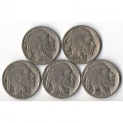lot de 5 pieces de 5 cents Nickel - USA Buffalo Indian Head 1936 ( 006 )