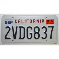 Plaque d Immatriculation USA - California 1992 ( 161 )
