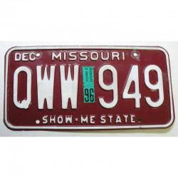 Plaque d Immatriculation USA - Missouri avec vignette 1996  ( 1305 )