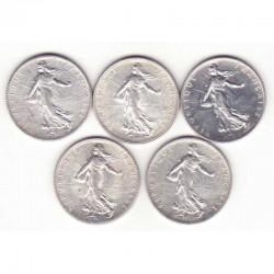 lot de 5 pieces de 1 franc argent semeuse 1916 ( 5 )