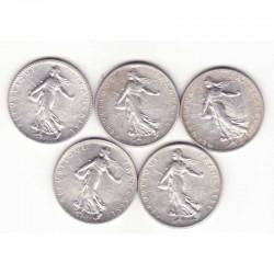 lot de 5 pieces de 1 franc argent semeuse 1917 ( 4 )