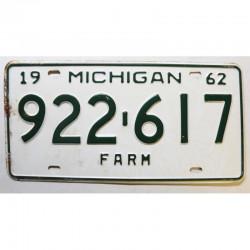 Plaque d Immatriculation USA - Michigan 1962 ( 1325 )