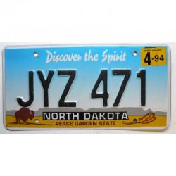 Plaque d Immatriculation USA - North Dakota 1994 ( 712 )