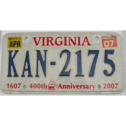 Plaque d Immatriculation USA - Virginia 2007 ( 066 )