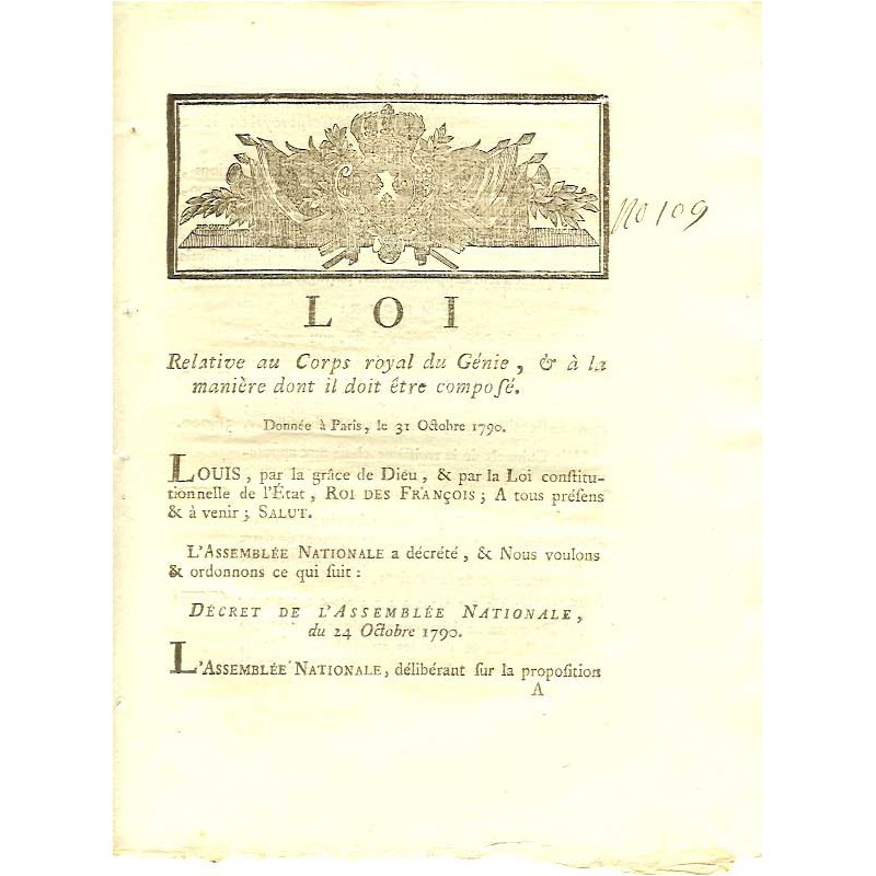 loi Royale relative au corps royal du genie ( 020 )