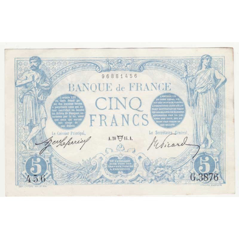 5 F Bleu 20/04/1914 SPL - ( 361 )