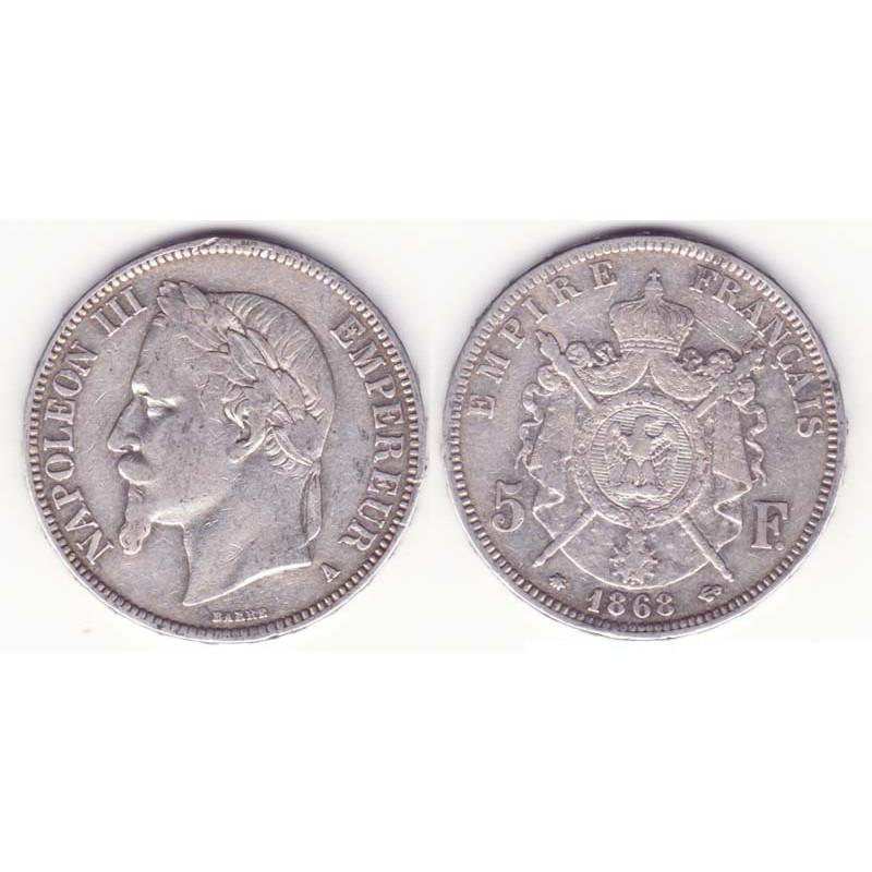 5 francs Napoleon III 1868 A argent ( 013 )
