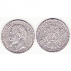 5 francs Napoleon III 1868 BB argent ( 008 )