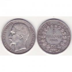 5 francs Louis Napoleon 1852 A argent ( 004 )