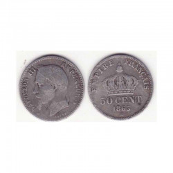 50 cents Napoleon III 1865 BB argent ( 001 )